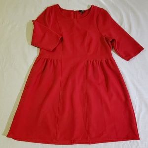 Red, 3/4 Sleeve, Fit and Flare Dress